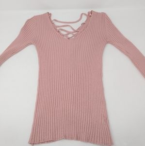 Ambiance Apparel Tight V Neck Open Back Sweater